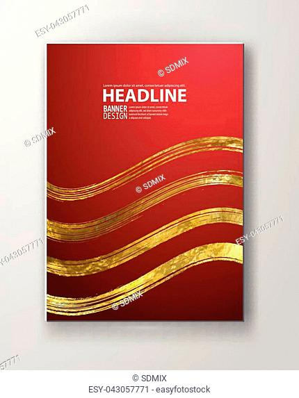 Vector Red and Gold Design Templates for Brochures, Flyers, Mobile Technologies, Applications, Online Services, Typographic Emblems, Logo
