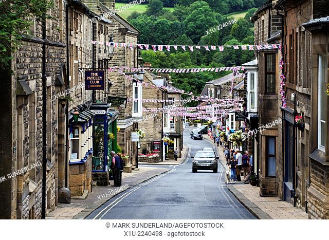 Union Jack Bunting Flying over the High Street at Pateley Bridge North Yorkshire England