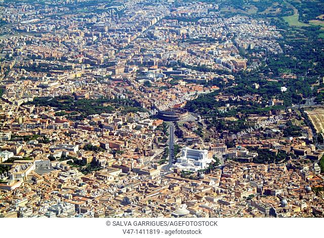 Flying over the Roman Colosseum