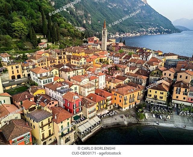 Aerial view of Varenna, and Como Lake, Lombardy, Italy, Europe