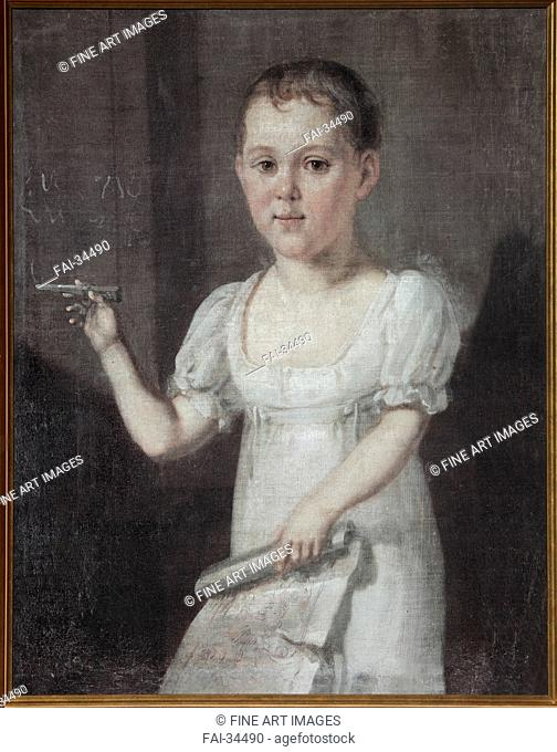 Portrait of the poet Mikhail Lermontov (1814-1841) as Child by Anonymous /Oil on canvas/Neoclassicism/1817-1818/Russia/State Central Literary Museum