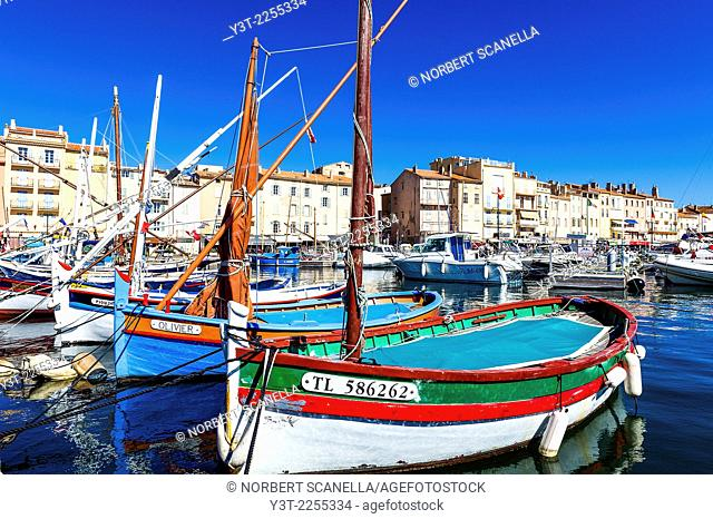 """Europe, France, Var, Saint-Tropez. Traditional fishing boat, named """"""""pointu"""""""" in the old port"""