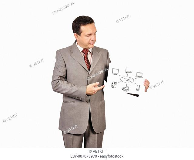 businessman holding placard with computer network