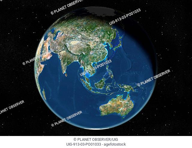 Globe Centred On Asia And Oceania, True Colour Satellite Image. True colour satellite image of the Earth centred on Asia and Oceania