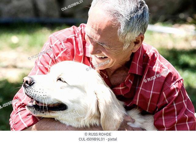 Man and pet dog