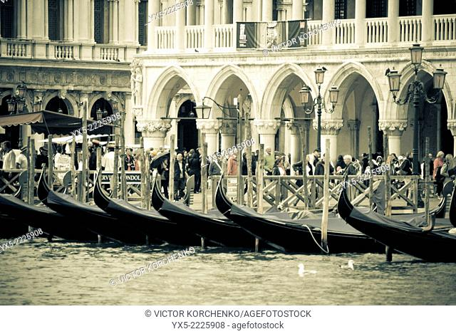 Gondolas in front of Palazzo Ducale
