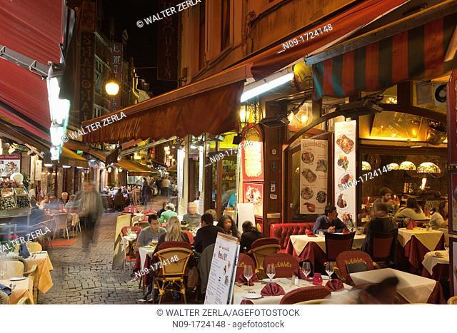 Rue des Bouchers, Brussels, Belgium, Europe