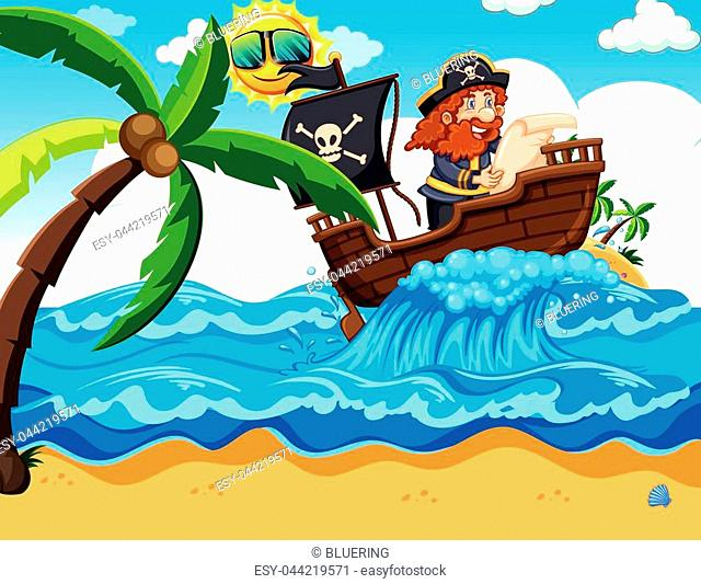 A Pirate Reading a Map illustration