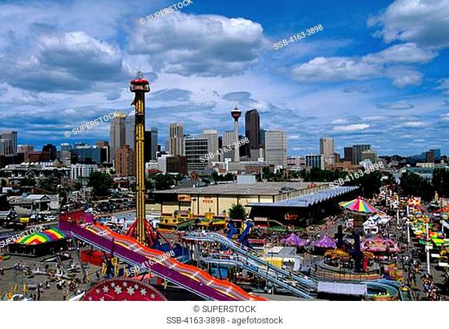 CANADA, ALBERTA, CALGARY, CALGARY STAMPEDE PARK, DOWNTOWN IN BACKGROUND