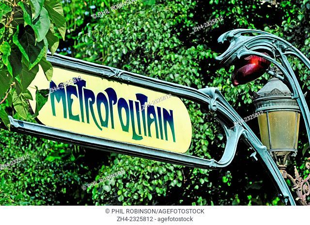 Paris, France. Metro sign (Cite station)