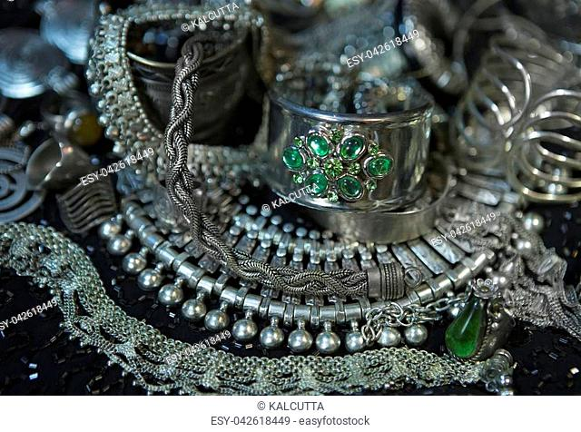 Silver jewelry with Emerald. Lot of Beautiful Oriental Silver, Gold (Indian, Arab, African). Fashion Ethno Accessories, Asian Bridal jewelry