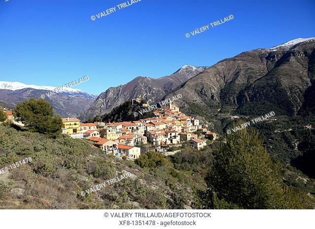 The perched village of Piene Haute Vallee de la Roya Alpes-MAritimes 06 PACA FRance Europe