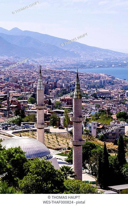 Turkey, Izmir, Aegean Region, Cityscape, Mosque in the foreground