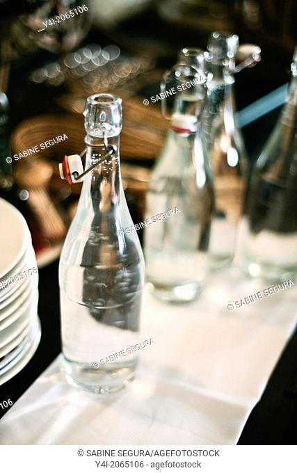 Bottles of water. Cafe Tupina. French cafe in Bordeaux. Bordeaux. Gironde. Aquitaine. France. Europe