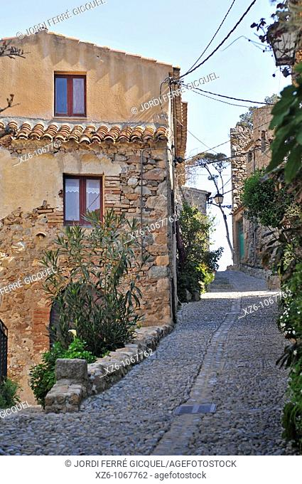 Typical street of the Medieval town of Tossa de Mar, Costa Brava, Catalonia, Spain, Europe