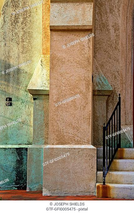 Architectural detail of John Wesley Methodist Church in Historic Savannah