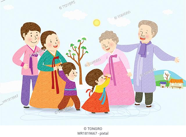 a family dressed in traditional Korean outfits
