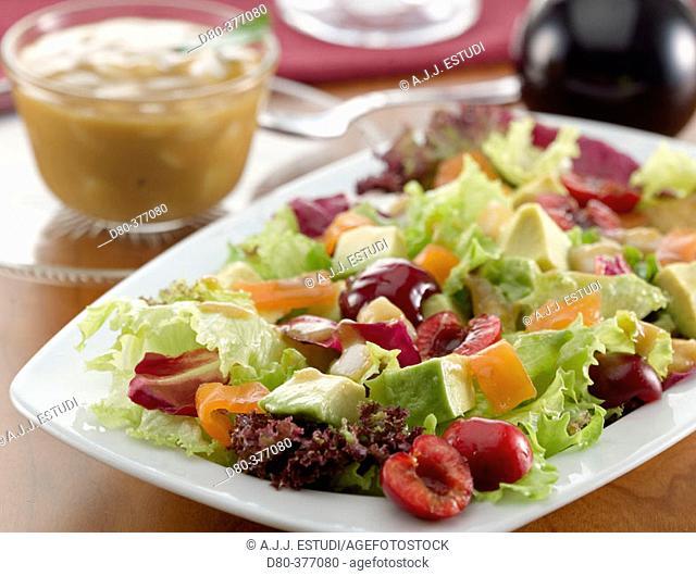 Salmon, avocado and cherry salad