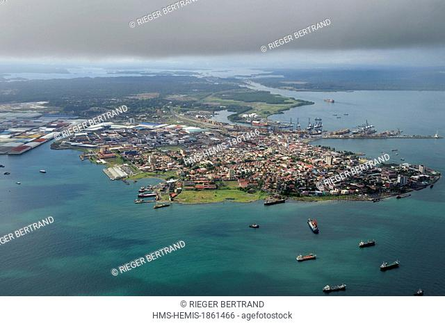 Panama, Colon province, the city of Colon in the Limon Bay (Bahia Limon) at the output of the Panama Canal on the Atlantic side in the background right