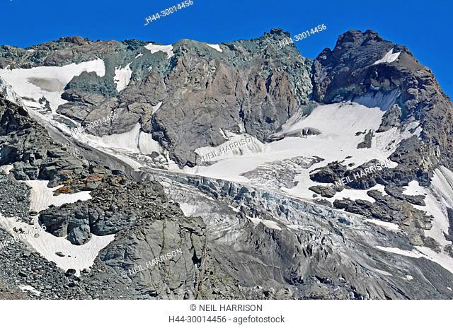 Mount Amiante in the Grand Combin massif with the Sonadon glacier, in the southern swiss alps, close to the italian border