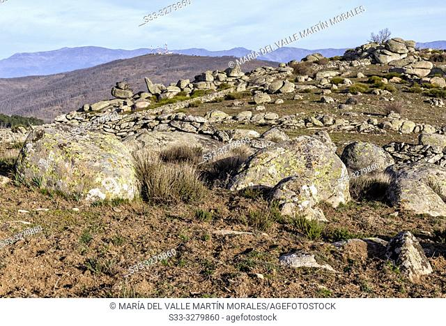 Crosses hill from St. Vicente hill and Sierra de Gedos on the background. Toledo. Spain. Europe