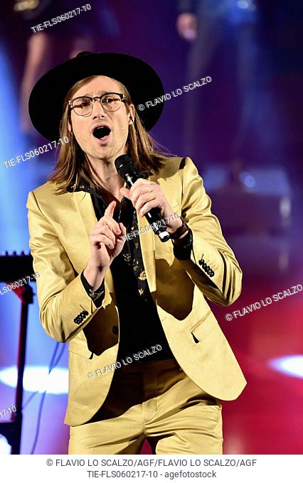 A/J Jackson, leader of the band Saint Motel during the performance at the tv show Che tempo che fa, Milan, ITALY-05-02-2017