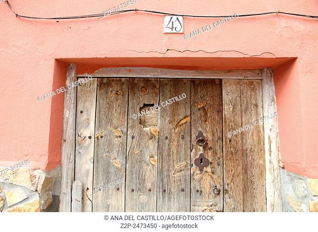 Old door in a village Teruel Spain