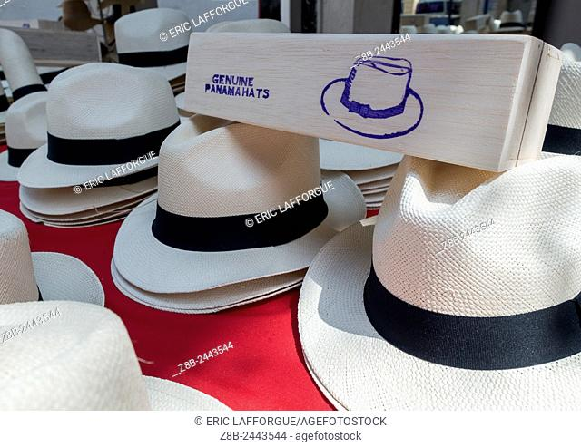 Panama, Province Of Panama, Panama City, Panama Hats For Sale In A Local Market In Casco Viejo