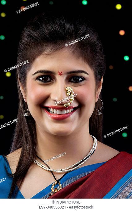 Maharashtrian woman smiling