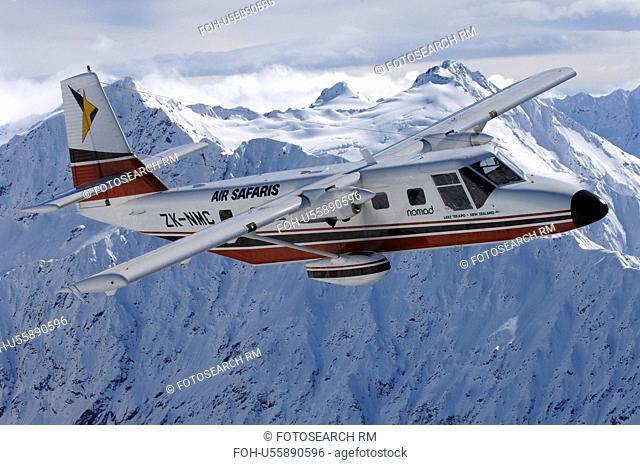 GAF Nomad in flight over mountains near Lake Tekapo