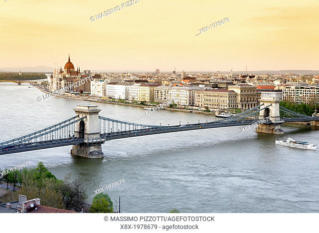 Chain bridge and cityscape, Budapest, Hungary
