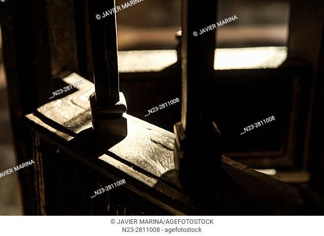 Detail of an iron door. Building of the Lonja de la Seda (Silk Exchange). Valencia, Spain