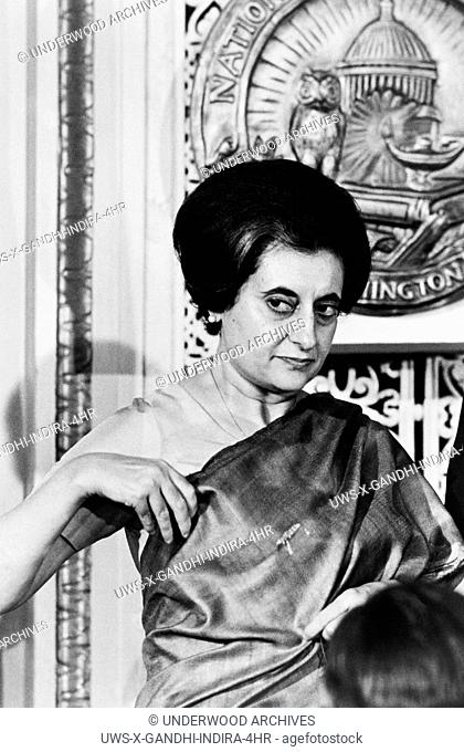 Washington, D.C.: March 29, 1966.Prime Minister Indira Gandhi of India at the National Press Club