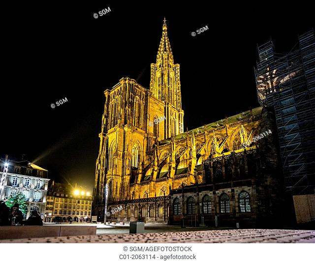Notre-Dame gothic cathedral 14th Century at night Strasbourg Alsace France
