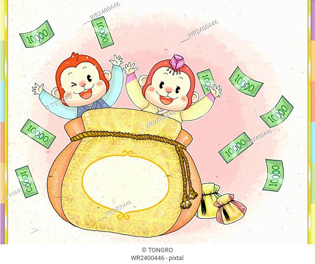 Two smiling monkeys in traditional Korean clothes raising arms with bills and fortune bag