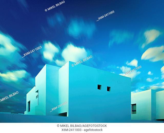 Houses and clouds. Marina Rubicon, Playa Blanca. Lanzarote, Canary Islands, Spain, Europe