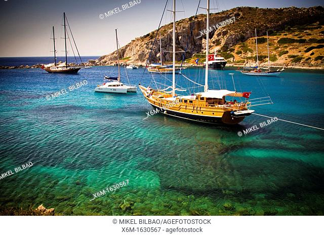 Bay and sailing ships near Knidos ancient Greek city ruins  Datca peninsula, Mugla province, Turkey