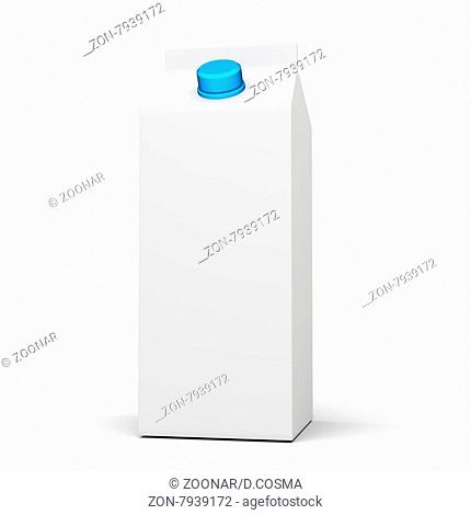 3d white blank milk or juice box on white background