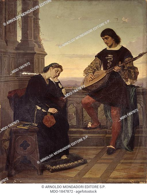 Beatrice di Tenda and Orombello, by Giuseppe Giani, 19th Century, oil on canvas. Italy, Lombardy, Milan, Brera Collection. Whole artwork view