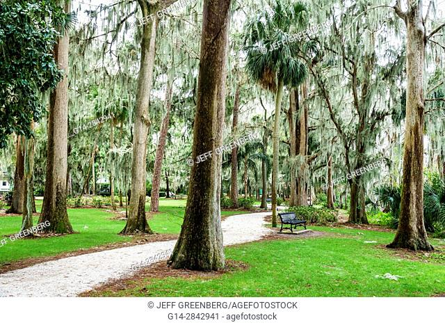 Florida, Winter Park, Orlando, Kraft Azalea Garden, public park, cypress trees, moss, bench, path