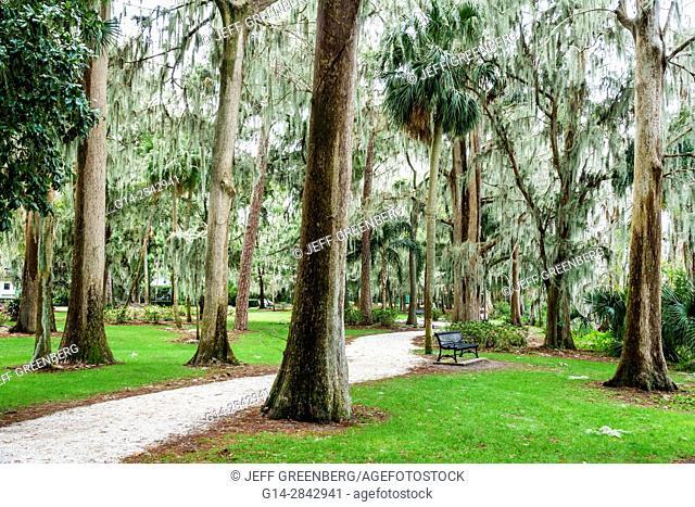 Florida, Winter Park, Orlando, Kraft Azalea Garden, public park, cypress trees, moss, bench, path