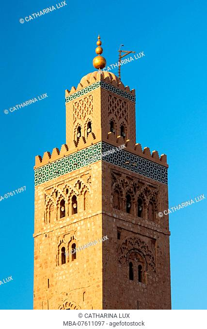 Morocco, Marrakech, Koutoubia Mosque, Minaret in the Evening Light