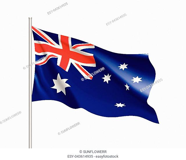 Waving flag of Australia. Illustration of Oceania country flag on flagpole. Vector 3d icon isolated on white background