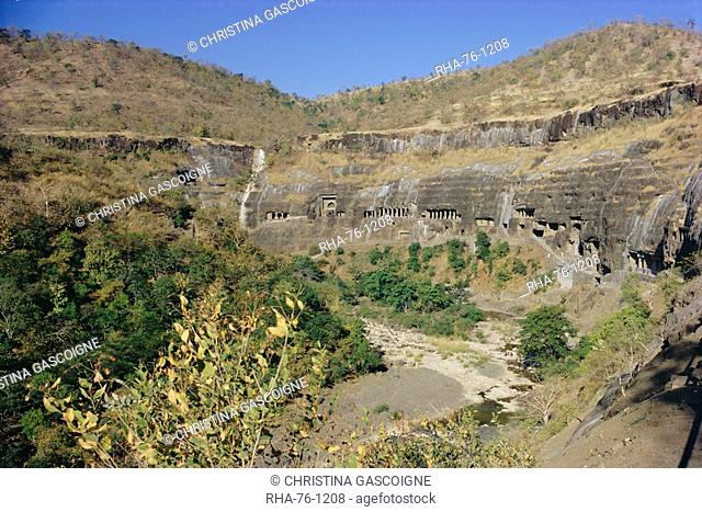 The caves at Ajanta, Deccan Hills, Maharashtra State, India