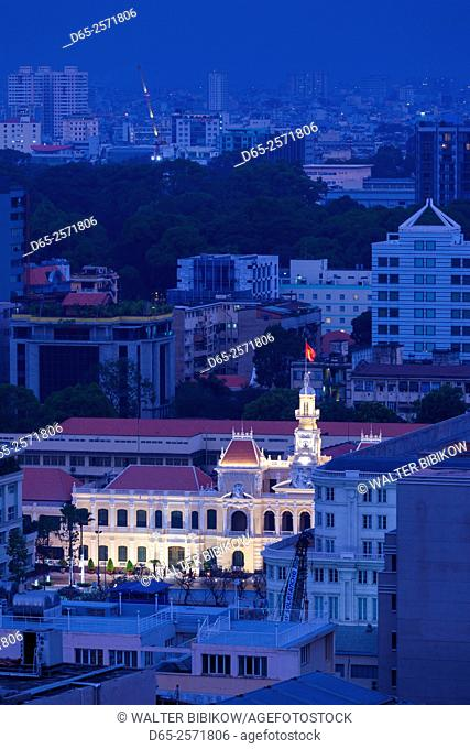 Vietnam, Ho Chi Minh City, People's Comittee Building, elevated city view, dusk