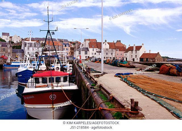 Fishing boats and nets. Pittenweem. Scotland