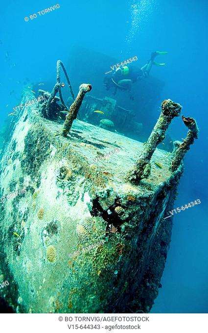 Scuba diver on wreck Berwind. Bridgetown. Barbados