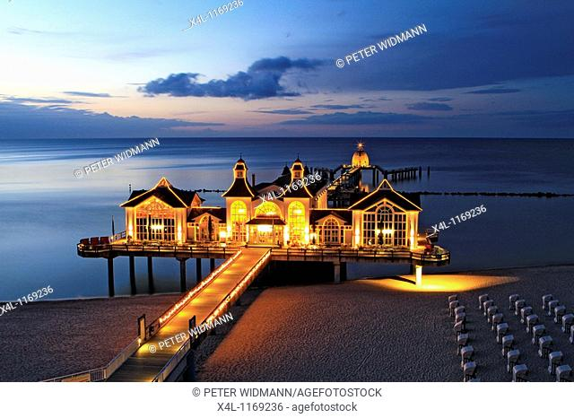 Sellin Seebruecke at Night, Pier, Ruegen, Baltic Sea, Mecklenburg Western Pomerania, Germany, Europe