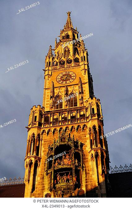 Tower of the New Town Hall in Munich, Marienplatz, Bavaria, Germany
