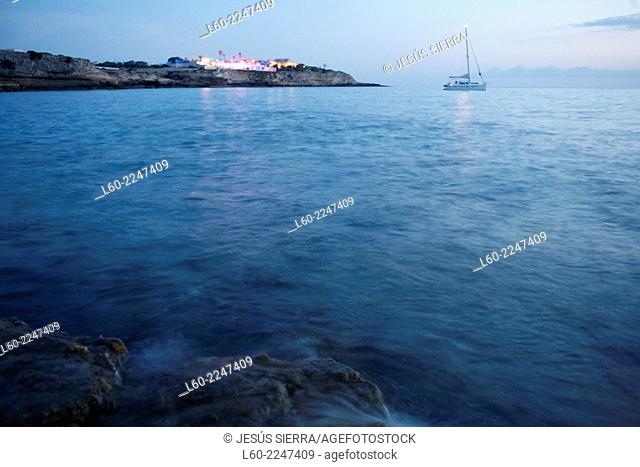Boat in cala Comte, Ibiza, Spain